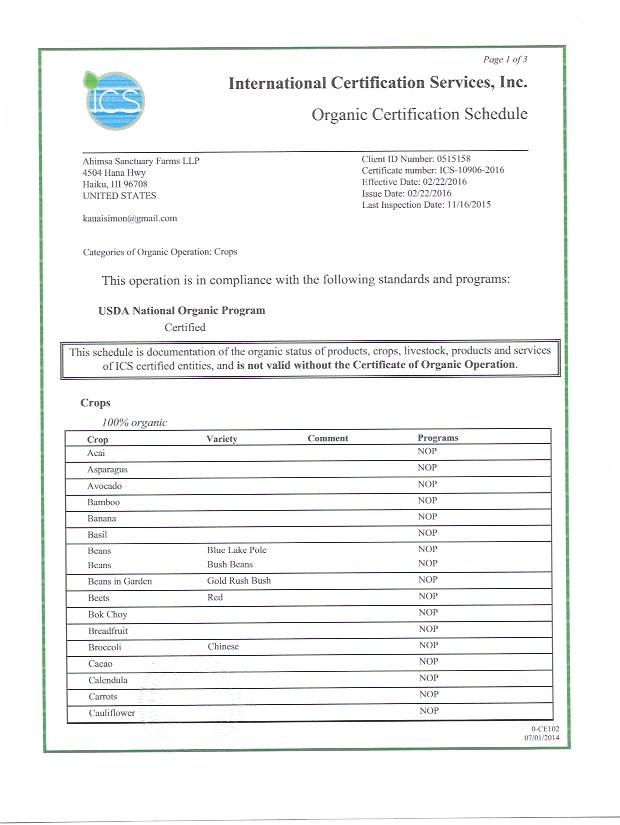 Organic Certification ICS 1